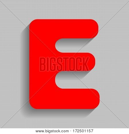 Letter E sign design template element. Vector. Red icon with soft shadow on gray background.