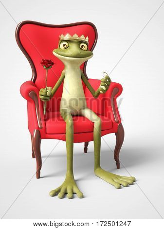 3D rendering of a smiling romantic cartoon frog prince holding a red rose in one hand and a ring in the other. He is sitting on a throne. White background.