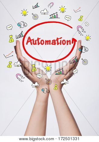 Technology, Internet, Business And Marketing. Young Business Woman Writing Word: Automation