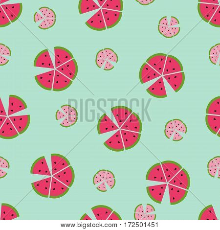 Seamless vector pattern background with colorful watermelons
