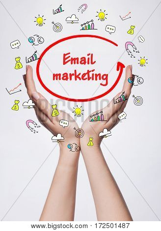 Technology, Internet, Business And Marketing. Young Business Woman Writing Word: Email Marketing