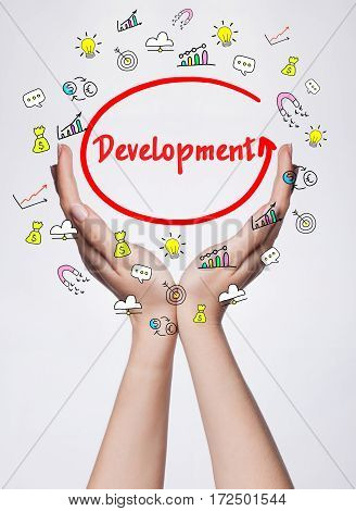 Technology, Internet, Business And Marketing. Young Business Woman Writing Word: Development