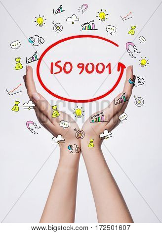 Technology, Internet, Business And Marketing. Young Business Woman Writing Word:  Iso 9001