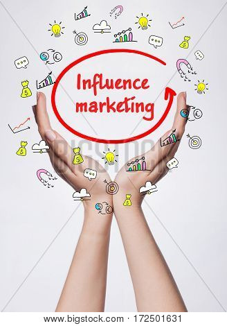 Technology, Internet, Business And Marketing. Young Business Woman Writing Word:  Influence Marketin