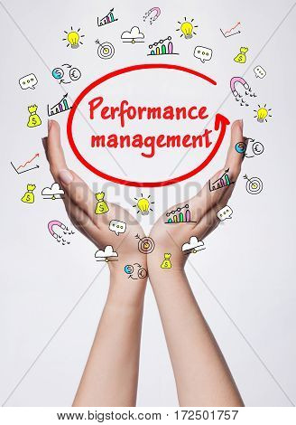 Technology, Internet, Business And Marketing. Young Business Woman Writing Word: Performance Managem