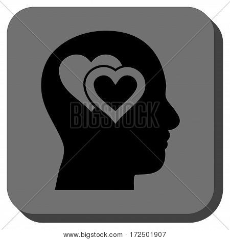 Love In Mind toolbar icon. Vector pictograph style is a flat symbol on a rounded square button black and gray colors.