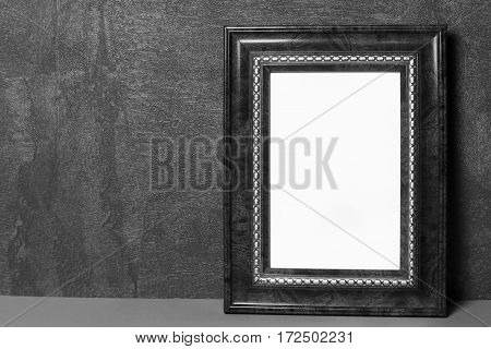 Vintage frame on table vintage background with space for text