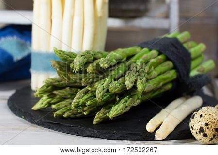 Spring season diet meal - fresh white and green asparagus