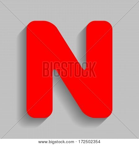 Letter N sign design template element. Vector. Red icon with soft shadow on gray background.