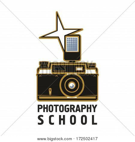Camera vector icon of old or retro photograph camera with flash light, photo capture lens. Isolated emblem or sign for photography or photographer school