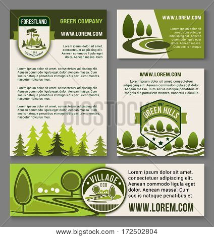 Eco landscape and green horticulture design vector templates set for home or garden green plants ecology company and trees architecture, environment build or gardening service