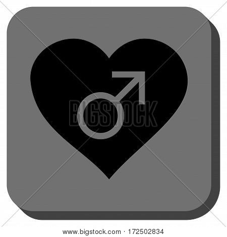 Male Love Heart interface toolbar icon. Vector pictogram style is a flat symbol inside a rounded square button black and gray colors.
