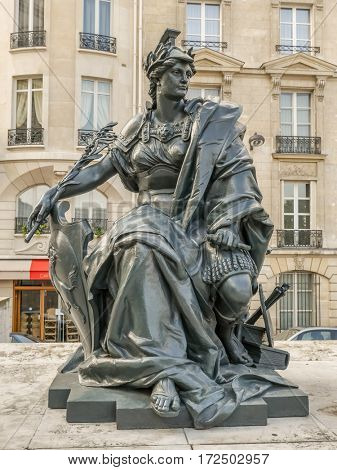 PARIS, FRANCE - 25 AUGUST, 2013 - One of six statues representing six continents - Europe, outside of d'Orsay Museum, Paris, France