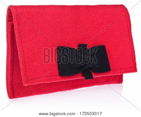 The Felt, Textile, Women's Handbag, Purse With Bow In  Color, Black, Red.