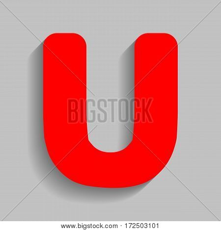 Letter U sign design template element. Vector. Red icon with soft shadow on gray background.