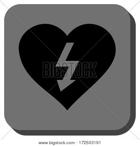 Power Love Heart interface toolbar icon. Vector pictograph style is a flat symbol inside a rounded square button black and gray colors.