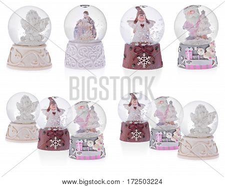 Snow Globe With Angels, Santa Claus, Holy Mary, Baby Jesus And Joseph On A Ceramic Base.
