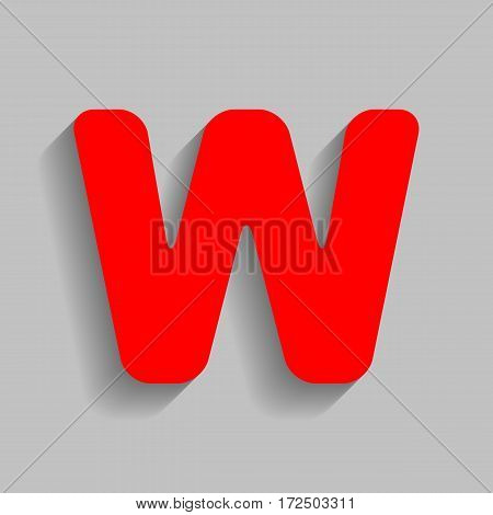 Letter W sign design template element. Vector. Red icon with soft shadow on gray background.