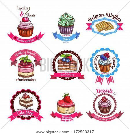 Cakes and dessert biscuits vector sketch icons of cupcakes or cheesecake, donut and muffin, belgian waffles and wafer tart, chocolate brownie cookie and pudding of bakery shop or patisserie