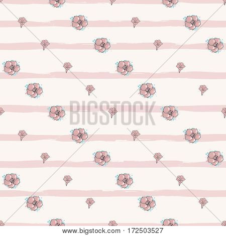 Vector seamless pattern. Diagonal rows of Exotic pink and blue flowers on striped background. Floral art. Digital or wrapping paper. Textile design