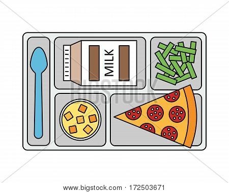 Lunch on a tray: pepperoni pizza, chocolate milk, green beans and fruit jelly.  Line style. Vector illustration.