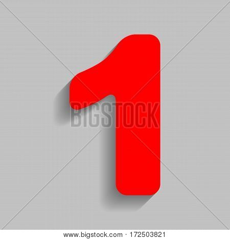 Number 1 sign design template element. Vector. Red icon with soft shadow on gray background.