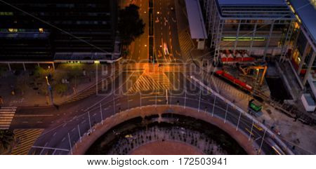 High angle view of road in city at night blur