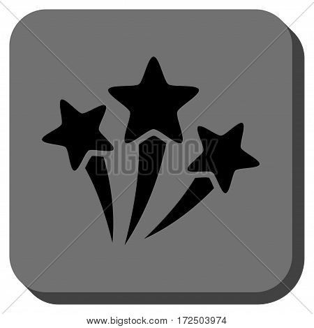 Star Fireworks interface toolbar icon. Vector pictograph style is a flat symbol inside a rounded square button black and gray colors.