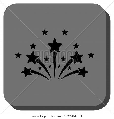 Star Fireworks interface toolbar icon. Vector pictograph style is a flat symbol in a rounded square button black and gray colors.