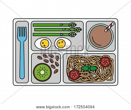 Lunch on a tray: pasta, asparagus, boiled egg, kiwi, almonds and a glass of chocolate milk. Line style. Vector illustration.