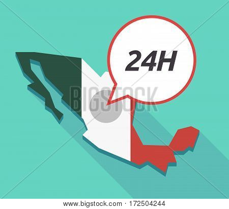 Vector Of Mexico Map With    The Text 24H