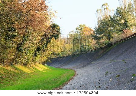 Generic view of Monza high-speed oval with banked sopraelevata curves in a autumn day