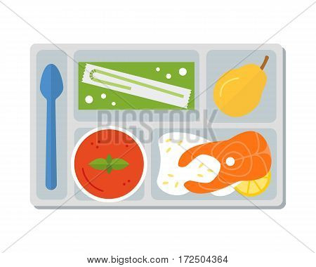 Lunch on a tray: vegetable soup, fish steak with rice, pear and apple juice in a box. Flat design. Vector illustration.
