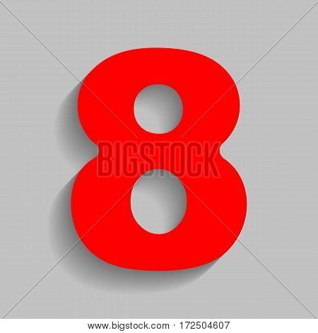 Number 8 sign design template element. Vector. Red icon with soft shadow on gray background.