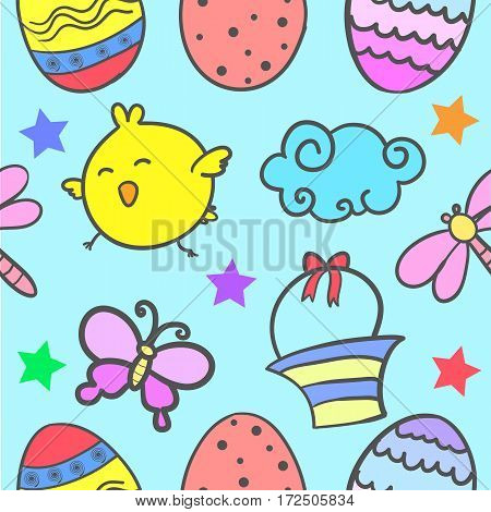 Doodle of easter colorful vector flat collection
