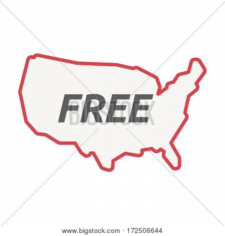 Isolated Line Art Usa Map With    The Text  Free