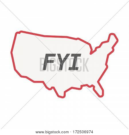 Isolated Line Art Usa Map With    The Text Fyi