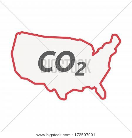 Isolated Line Art Usa Map With    The Text Co2