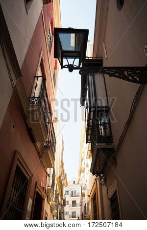 Street in Portugal. Narrow street of Lisbon, low angle view