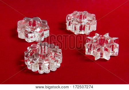 Set of a transparent rings holding penis erection on red