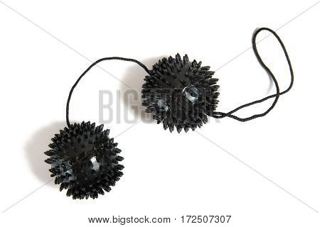 Plastic black loveballs for woman isolated on white background