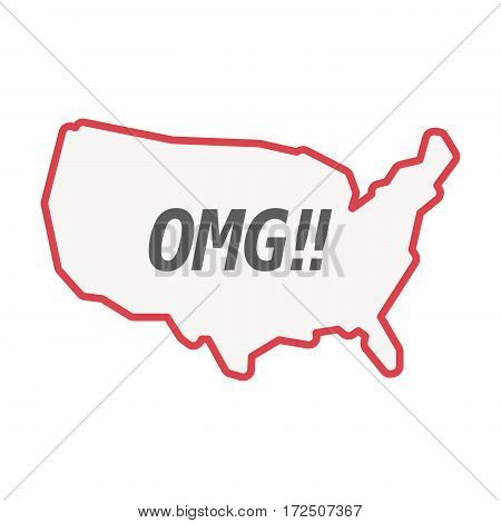 Isolated Line Art Usa Map With    The Text Omg!!
