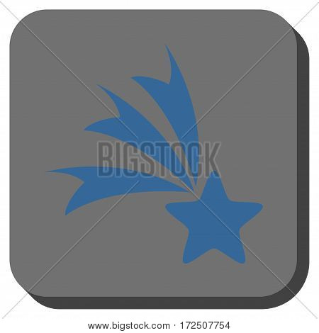Falling Star toolbar icon. Vector pictogram style is a flat symbol in a rounded square button cobalt blue and gray colors.
