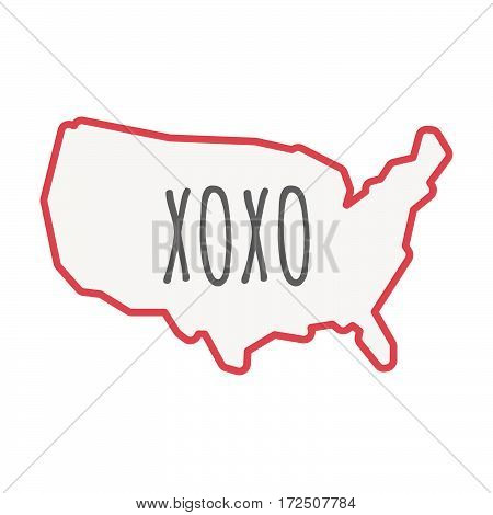 Isolated Line Art Usa Map With    The Text Xoxo