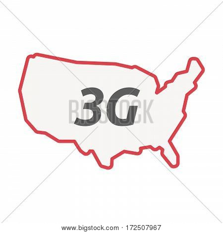 Isolated Line Art Usa Map With    The Text 3G