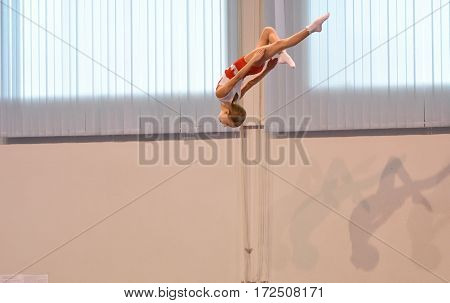 Orenburg, Russia - January 28, 2017: Girls Compete In Jumping On The Trampoline
