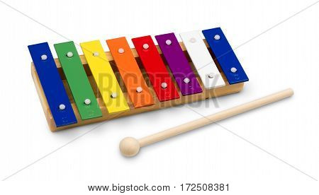 Rainbow Colored Wooden Xylophone Isolated on White Background