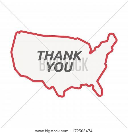Isolated Line Art Usa Map With    The Text Thank You
