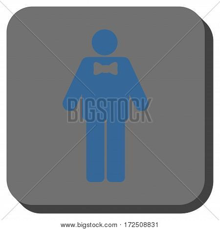 Groom interface toolbar icon. Vector pictograph style is a flat symbol centered in a rounded square button cobalt blue and gray colors.