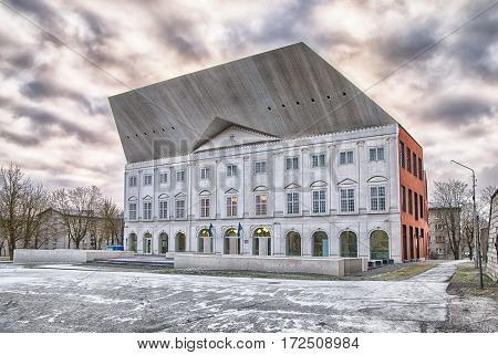 NARVA, ESTONIA - JANUARY 2, 2017: Modern building of Narva College of University of Tartu on The Town Hall Square. Winter view